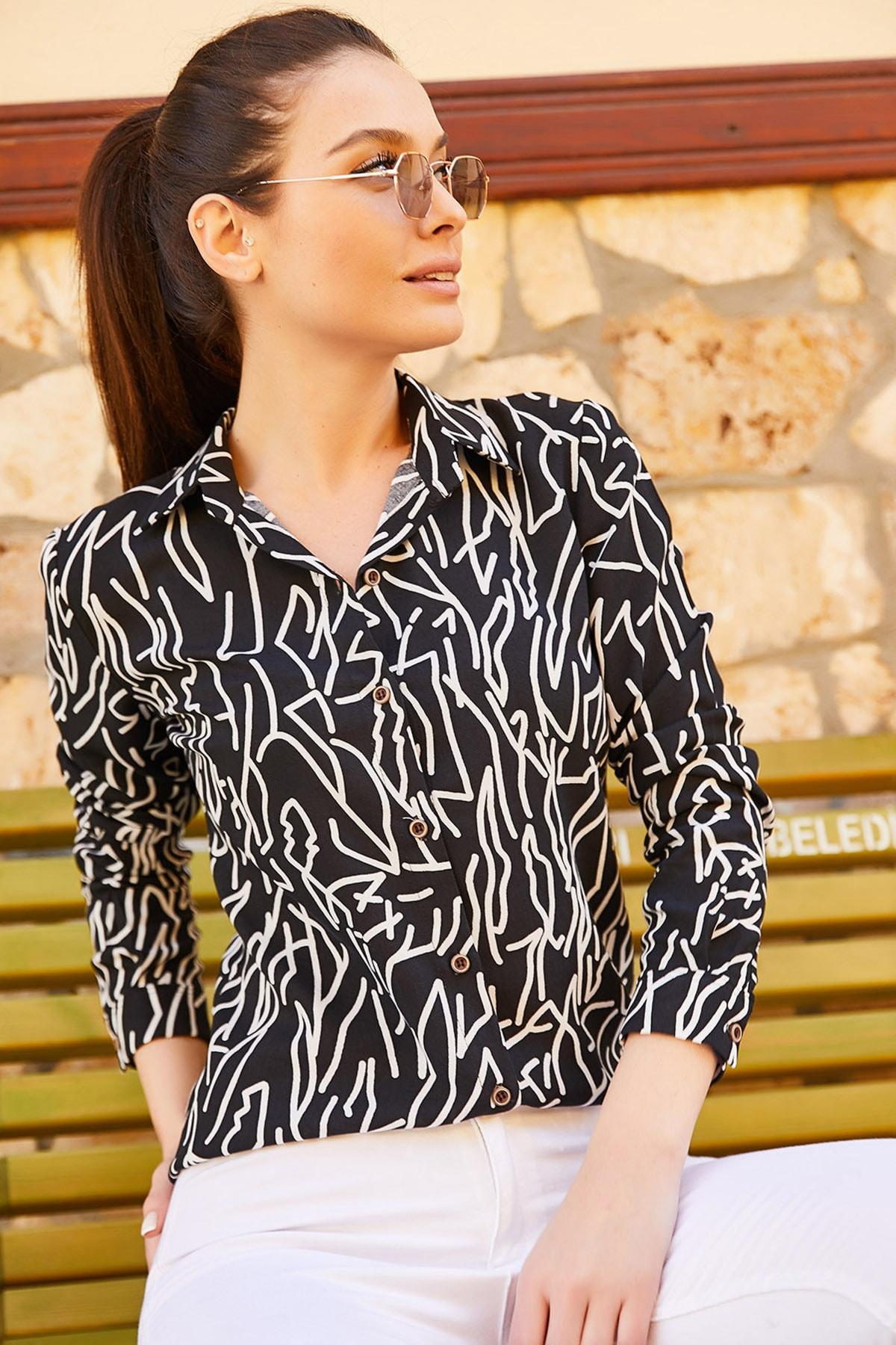 armonika Kadın Siyah Çizgi Desen Uzun Kol Gömlek ARM-20Y001002 1