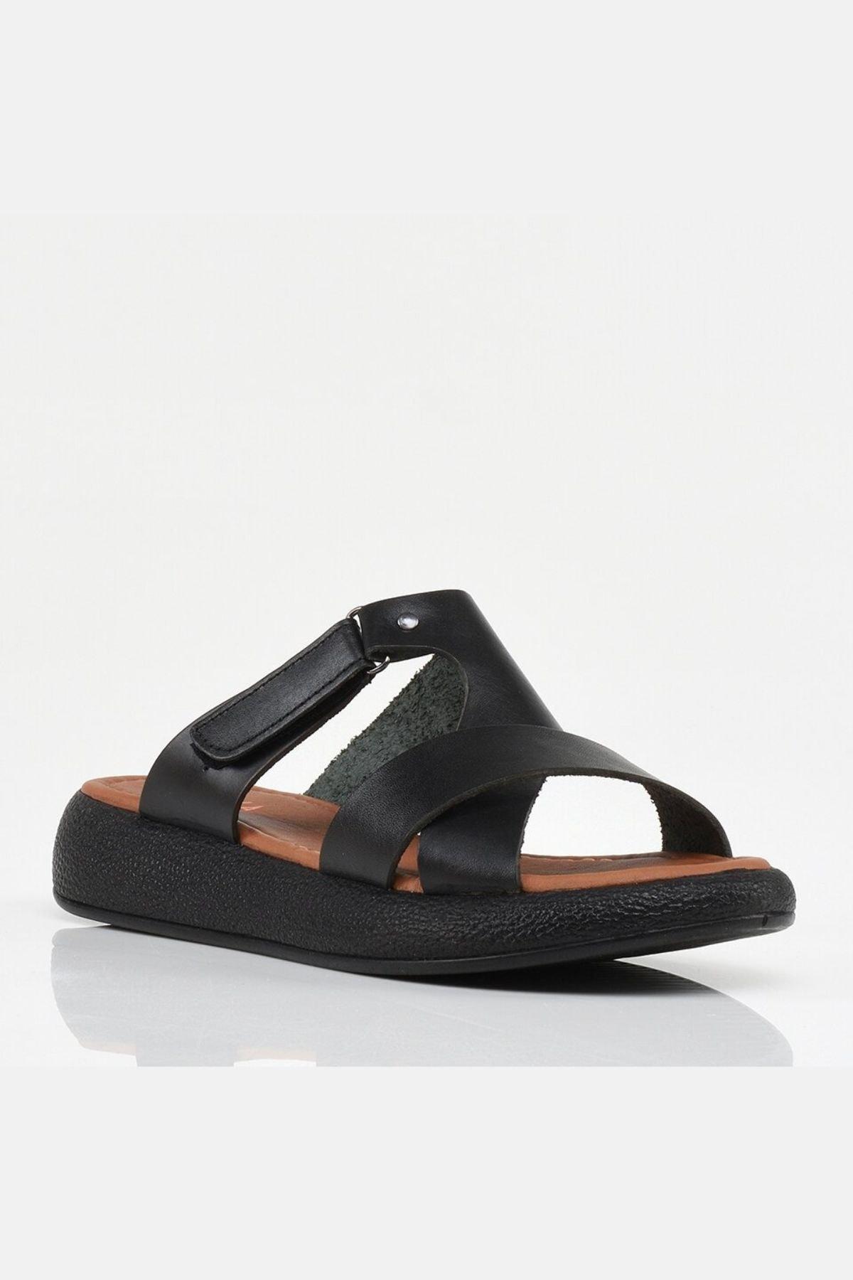 Hotiç Hakiki Deri Siyah Yaya Kadın Sandalet & Terlik 2