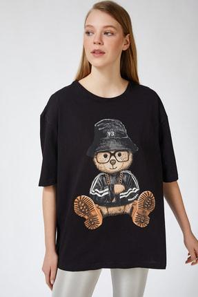 Happiness İst. Kadın Siyah Baskılı Oversize Uzun Penye T-shirt ZV00105