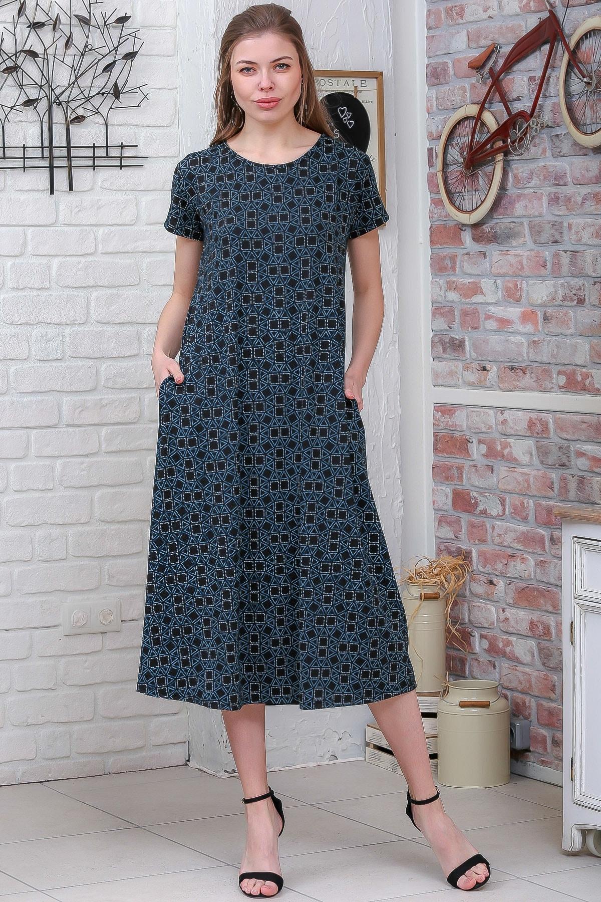 Chiccy Kadın Yeşil Sıfır Yaka Geometrik Desenli Gizli Cepli Salaş Elbise M10160000EL95550
