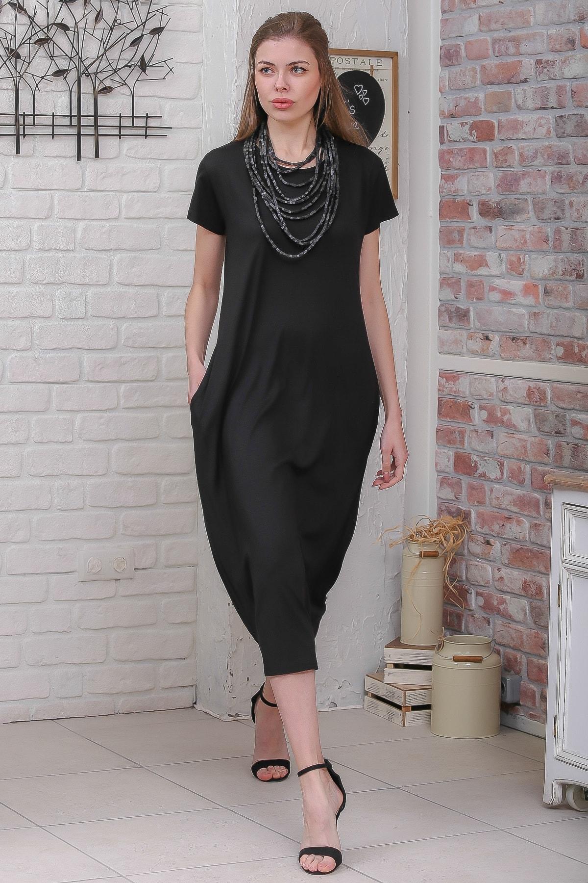 Chiccy Kadın Siyah Sıfır Yaka Kısa Kollu Gizli Cepli Salaş Elbise M10160000EL95531