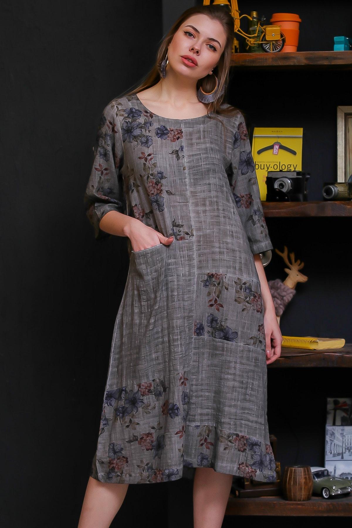 Chiccy Kadın Füme Ortanca Desenli Bloklu Tek Cepli Yıkamalı Dokuma Elbise M10160000EL95494