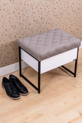 Mudesa Metal Ahşap Beyaz Sandıklı Puf Bank Oturaklı Ayakkabılık Ayakkabı Boya Fırça Kutusu Dolabı