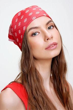 Trend Alaçatı Stili Kadın Kırmızı Desenli Fular ALC-A2182