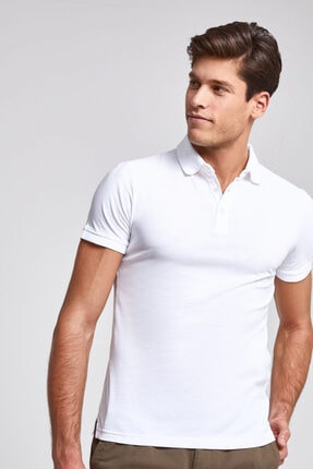 D'S Damat Erkek Beyaz Pike Dokulu Slim Fit Polo Yaka T-shirt