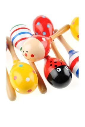 İTC STORE Tamamen Ahşap Renkli Marakas Çocuk Oyuncak