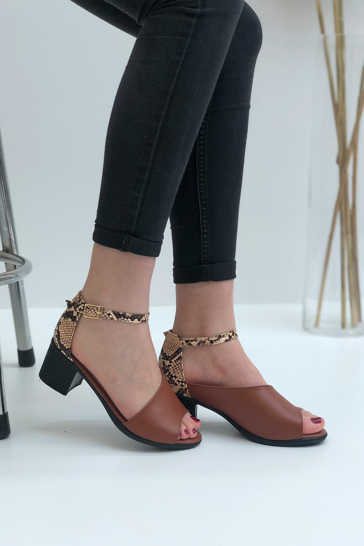 Elexus Kadın Taba Madrid Topuklu Sandal 1