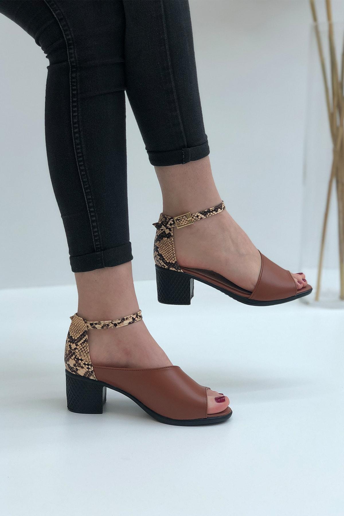 Elexus Kadın Taba Madrid Topuklu Sandal 2