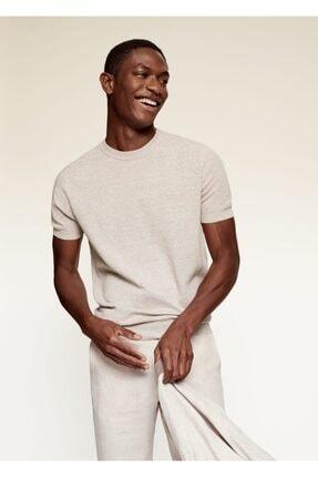MANGO Man Erkek Bej Keten-pamuk Karışımlı Tişört