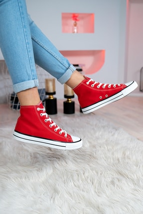 Bartrobel Erkek Bayan Bilekli Keten Kaliteli Spor Ayakkabı Kırmızı