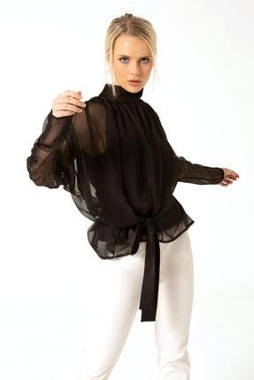 Dilunacy Kadın Siyah Kuşaklı Şifon Bluz