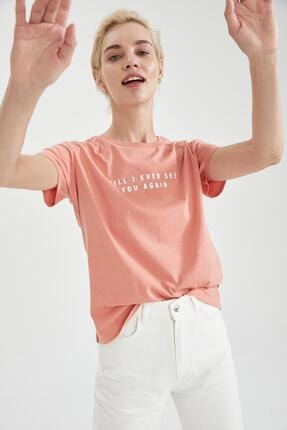 DeFacto Regular Fit Yazı Baskılı Kısa Kol Tişört