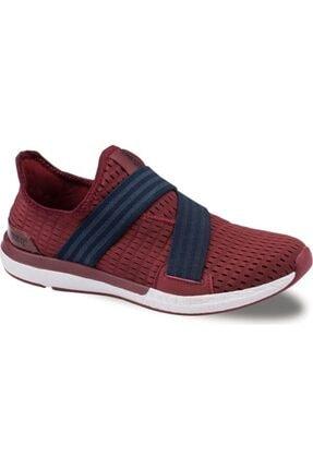 Jump Günlük Bağcıksız Fileli Bordo Renk Yürüyüş Erkek Spor Ayakkabı-kalın Yüksek Rahat Taban