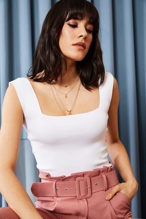 Moda Bu Kadın Beyaz Kalın Askılı Bel Üstü Yazlık Triko Bluz Blz-19000853
