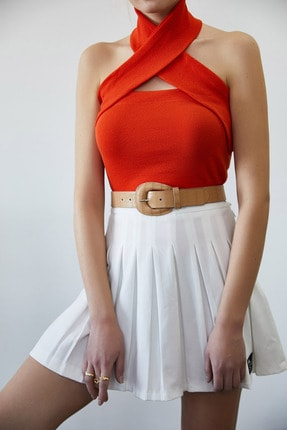 XENA Kadın Mercan Boynu Çarpraz Detaylı Kaşkorse Bluz 1KZK2-11439-64