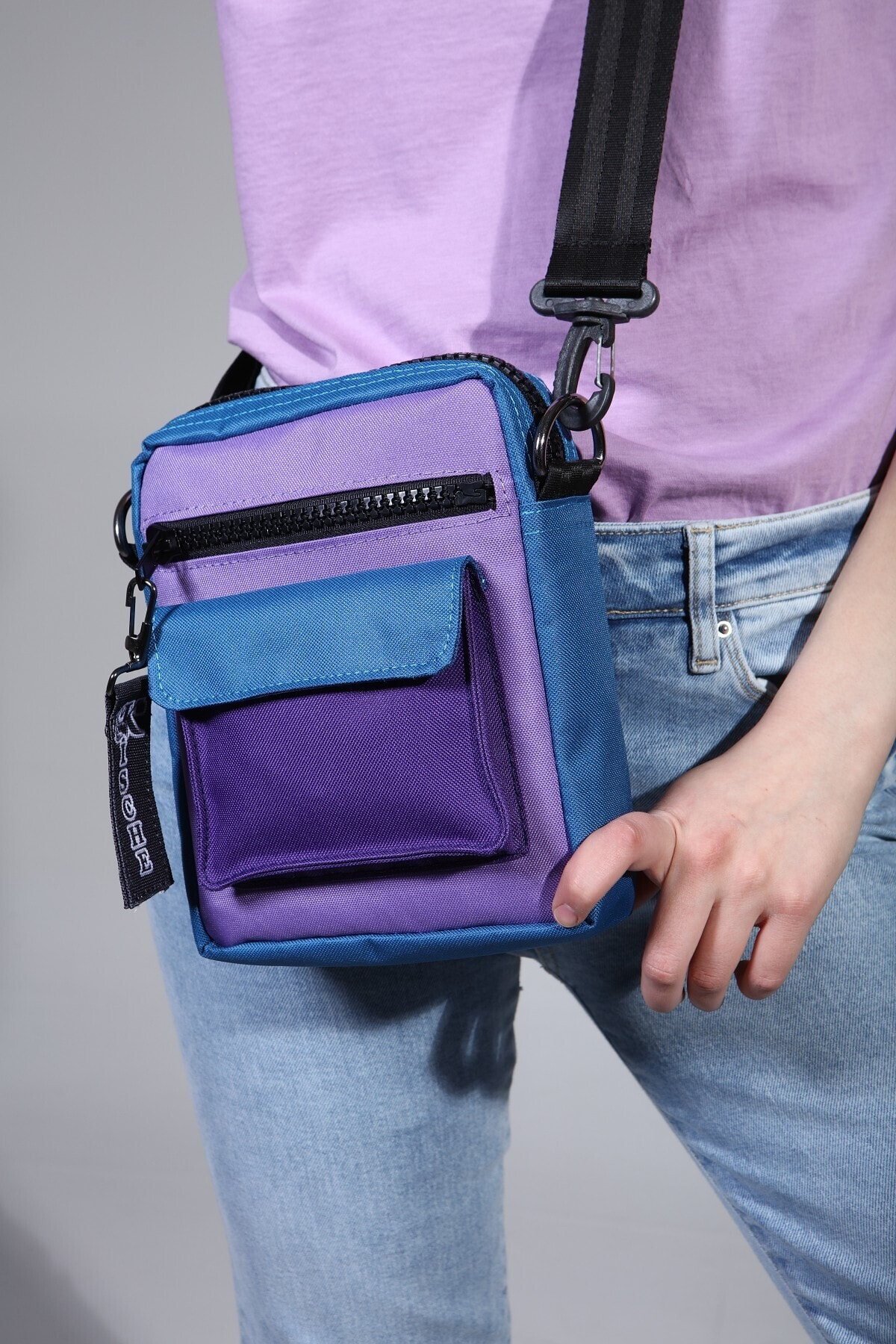 KISCHE 3 Renk Spor Askılı Omuz Çantası Mavi-lila-mor 1