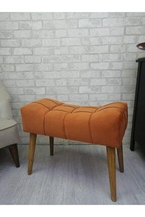 Arkın Orange Puf, Turuncu Renk , Ahşap Ayak Çima Dikiş
