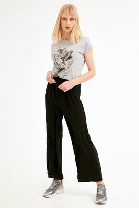 Fulla Moda Kadın Siyah Beli Lastikli Ayrobin Pantolon
