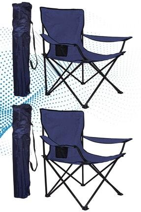 Shey Çantalı Kamp Sandalyesi Balıkçı Plaj Piknik Koltuk Lacivert 2 Adet