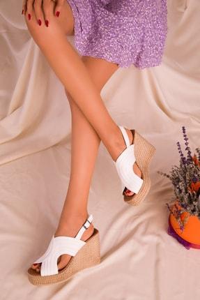 SOHO Beyaz Kadın Dolgu Topuklu Ayakkabı 16020