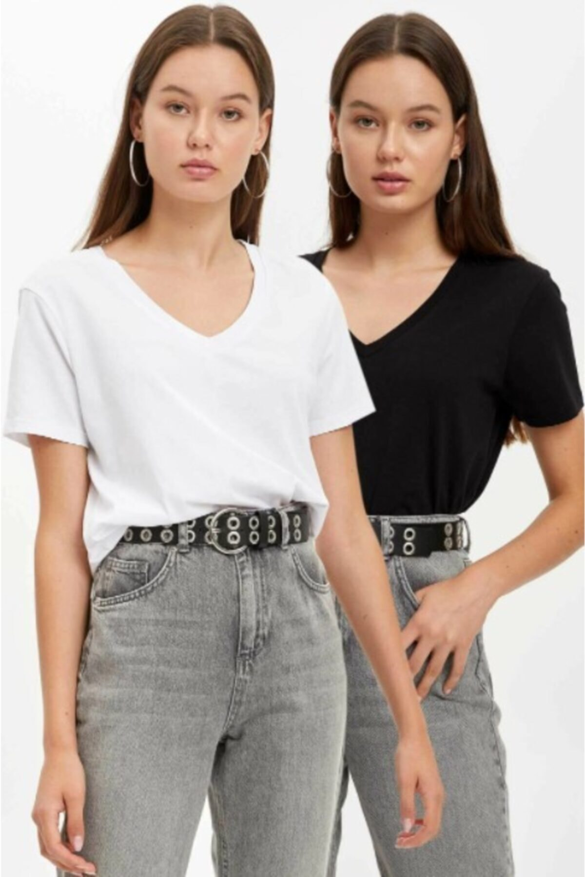 ronay giyim Kadın Siyah Beyaz V Yaka 2'li Paket T-shirt 1