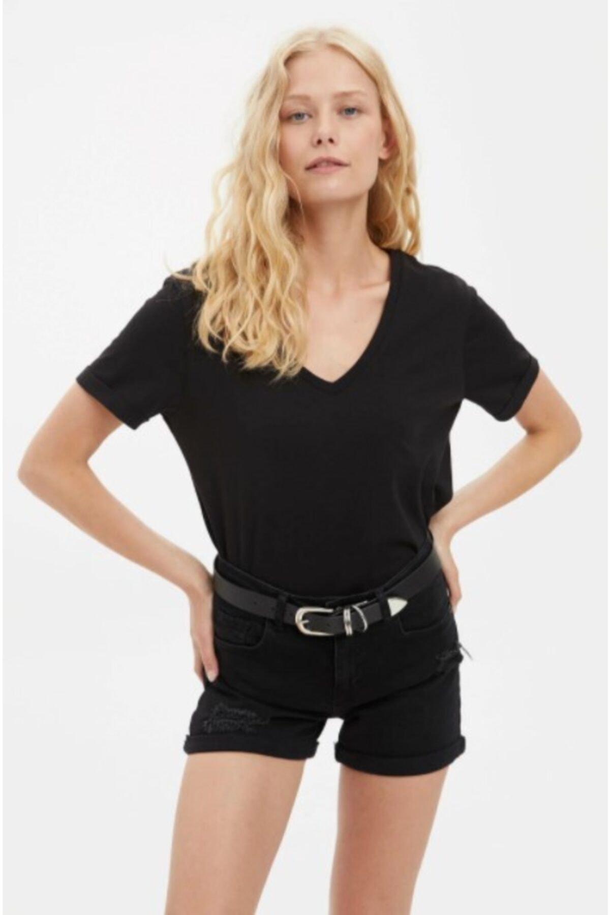 ronay giyim Kadın Siyah Beyaz V Yaka 2'li Paket T-shirt 2