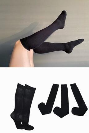 Pamela Kadın Siyah 3 Lü Düz Diz Altı Çorap