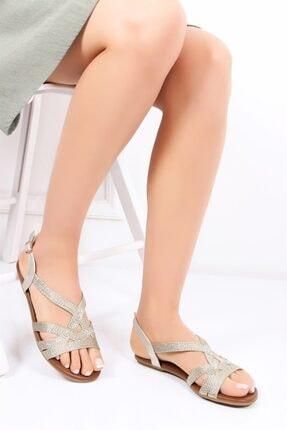 Deripabuc Hakiki Deri Gold Kadın Deri Sandalet Dp53-0014
