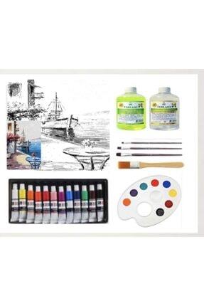 Cem Kurumsal Kırtasiye Yağlı Boya Seti Örnekli Çizilmiş Tuval Renkli Liman -4