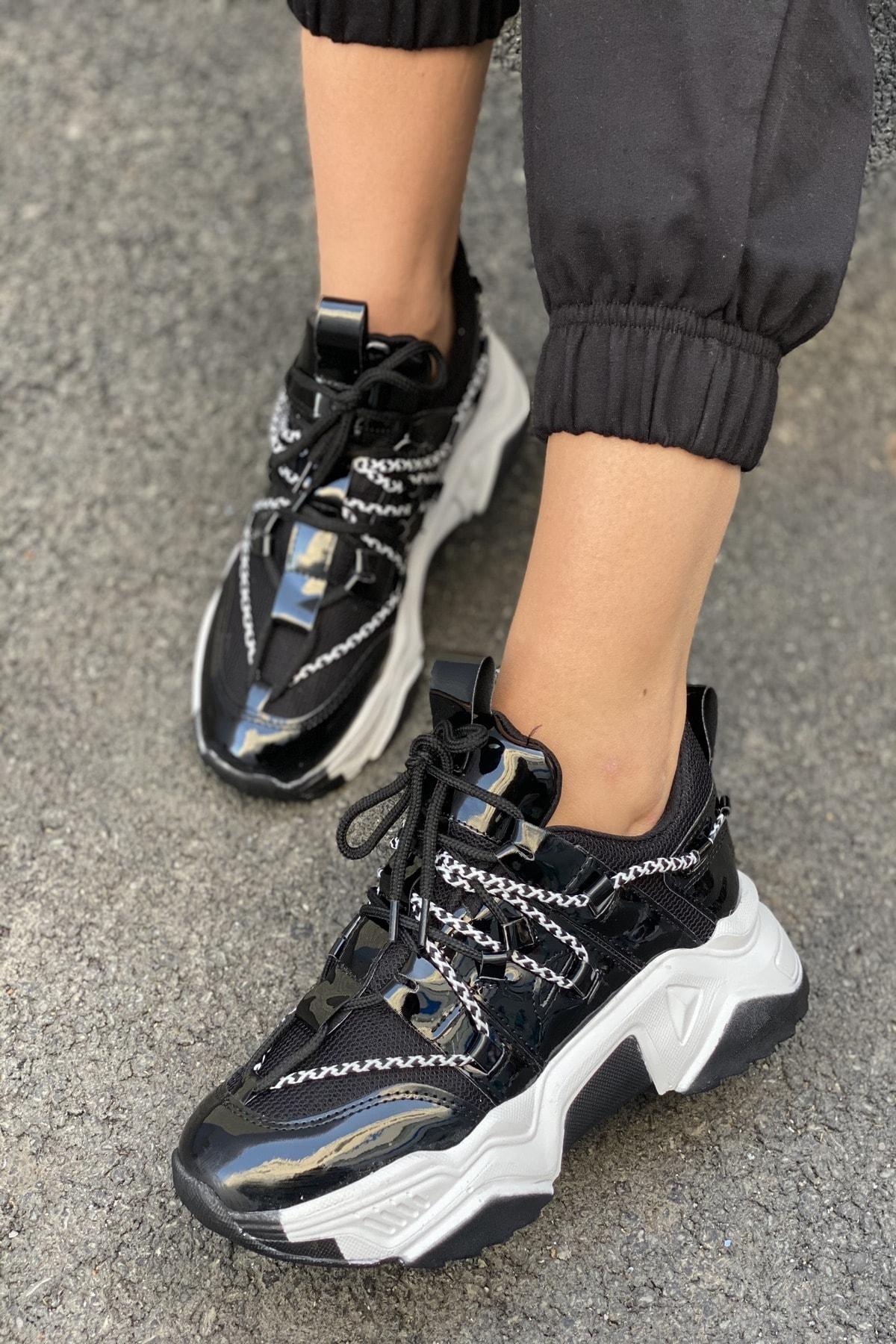 İnan Ayakkabı Kadın Siyah Bağcık Detaylı Sneaker 2