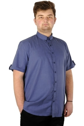 ModeXL Büyük Beden Erkek Keten Likralı Gömlek 20393 Indigo