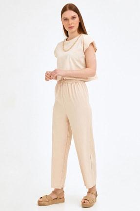 Fulla Moda Beli Lastikli Ayrobin Pantolon