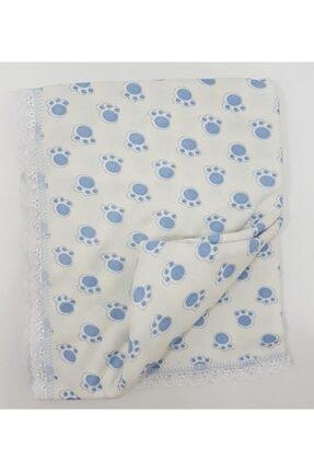 Karaca Mavi Renk Pati Desenli %100 Pamuk Penye Battaniye 100×80 Cm