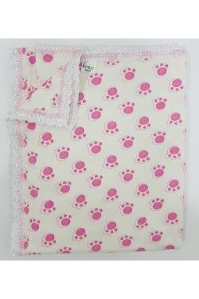 Karaca Pembe Renk Pati Desenli %100 Pamuk Penye Battaniye 100×80 Cm