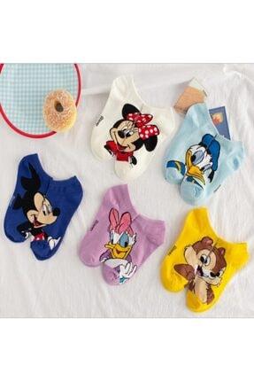 çorapmanya 5 Çift Sevimli Çok Renkli Karikatür Desenli Kadın Patik Çorap