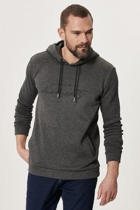 AC&Co / Altınyıldız Classics Erkek Gri Standart Fit Günlük Rahat Kapüşonlu Spor Sweatshirt