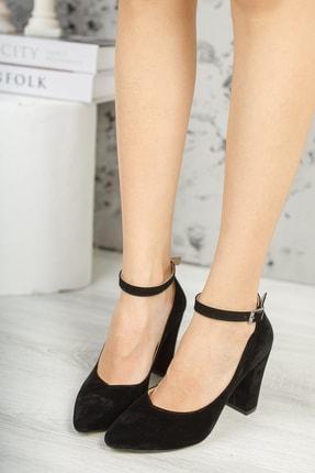 MUGGO Siyah Süet Kadın Klasik Topuklu Ayakkabı DPRGZHWY705