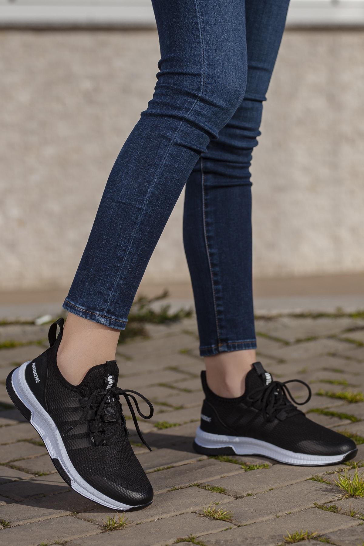 Daxtors Unisex Siyah Günlük Ortopedik Sneaker D053 1
