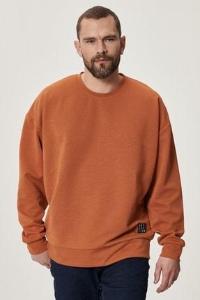AC&Co / Altınyıldız Classics Erkek Turuncu Günlük Rahat Sıfır Yaka Oversize Spor Sweatshirt