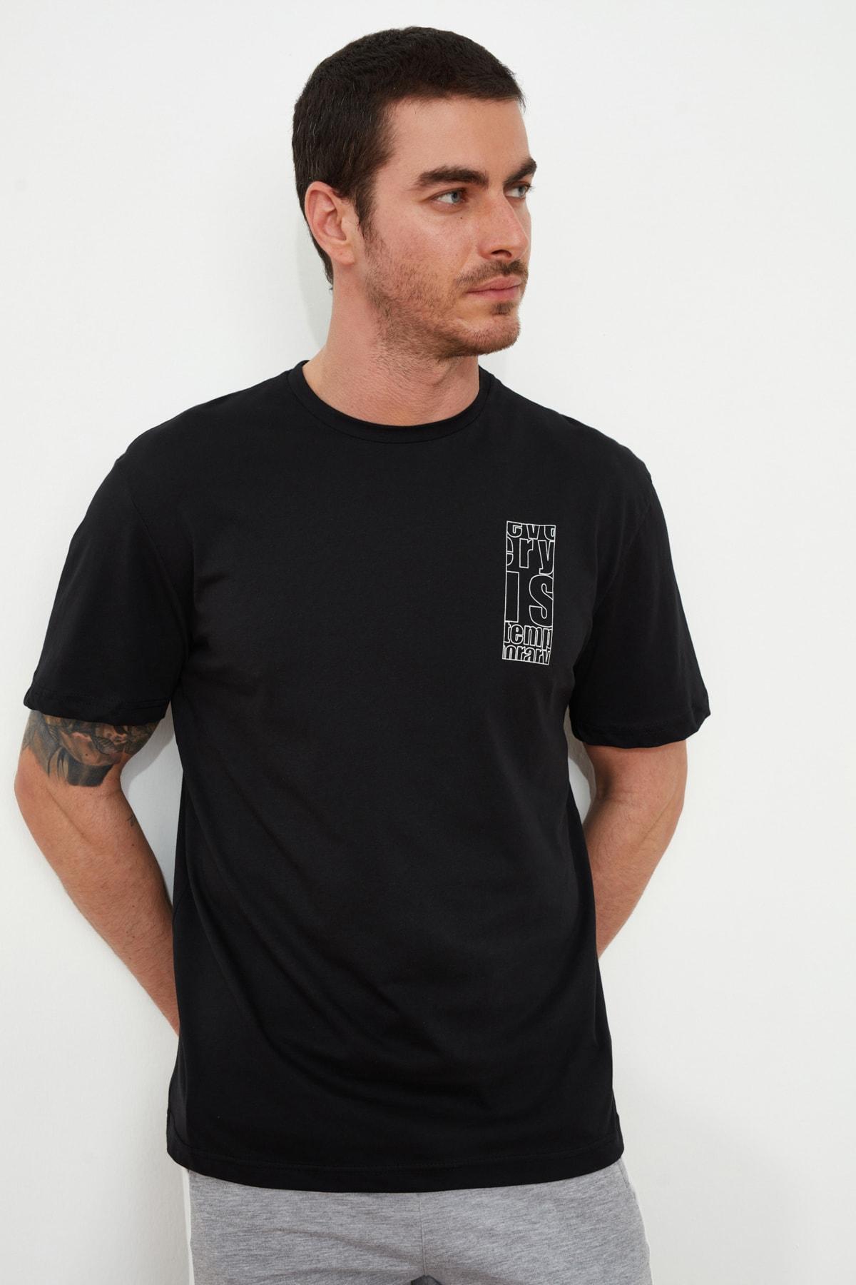 TRENDYOL MAN Siyah Erkek Geniş Kesim Fit Sırt Baskılı T-Shirt TMNSS20TS0656 2