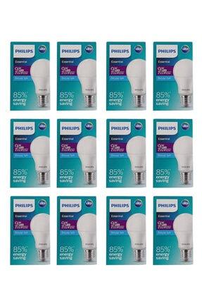 Philips Essential Led Ampul 9w - 60w E27 Beyaz Işık (12 Li Paket ) Akkurtlar