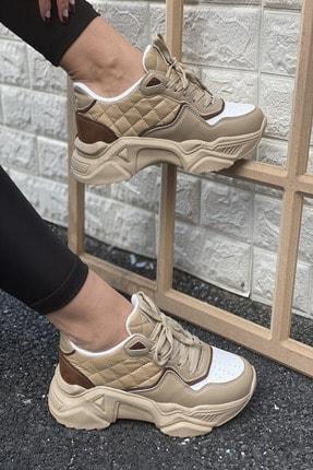 İnan Ayakkabı Kadın Kahverengi Delik Detaylı Sneakers