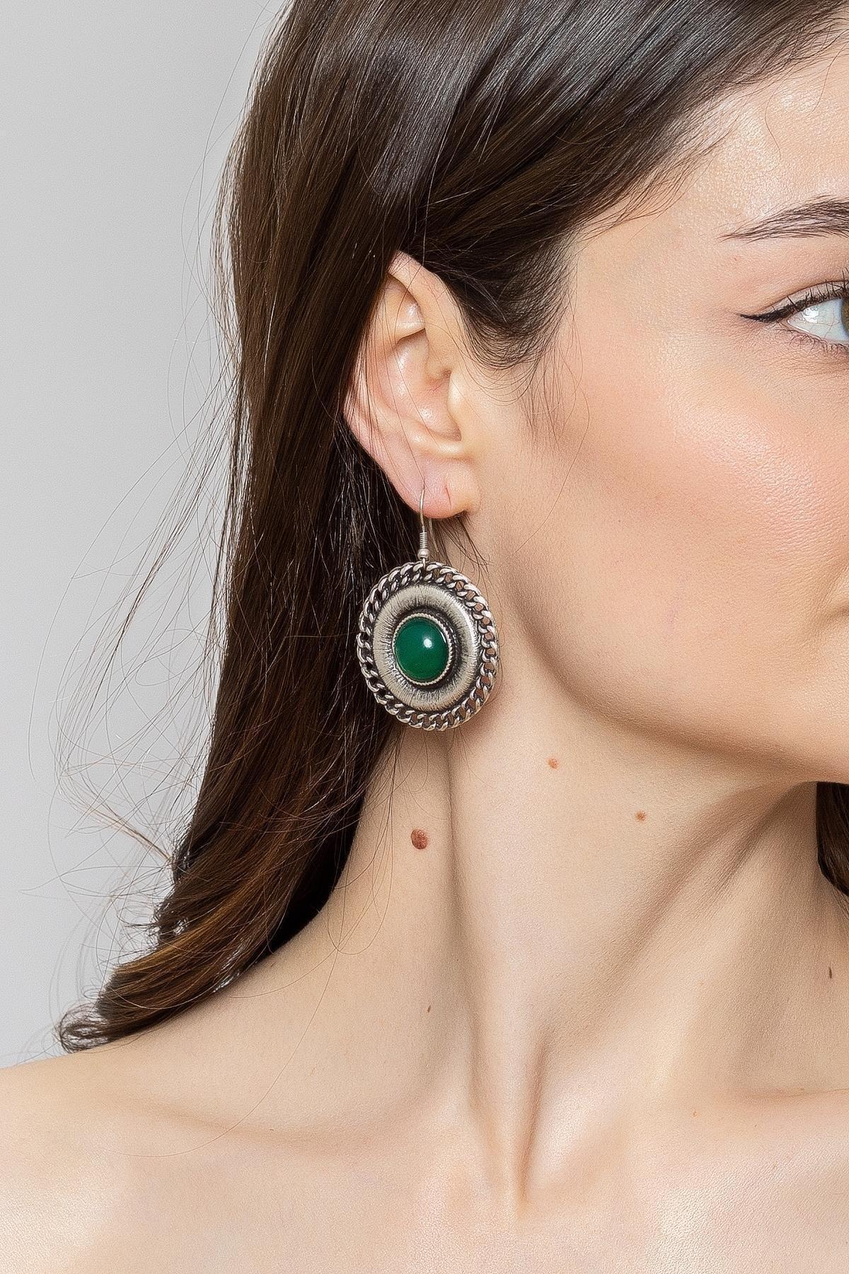 ZeyDor Accessories Kadın Yeşil Zeydor Taşlı Bohem Küpe 1