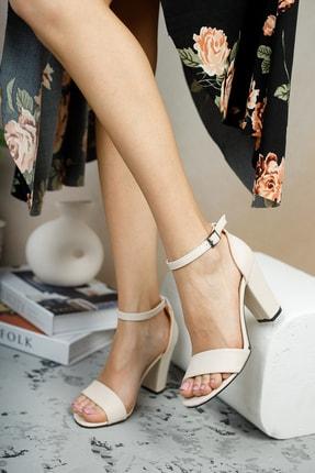 MUGGO Krem Kadın Klasik Topuklu Ayakkabı DPRGZHWY710