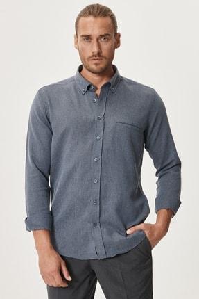AC&Co / Altınyıldız Classics Erkek İndigo Tailored Slim Fit Dar Kesim Düğmeli Yaka Kışlık Gömlek