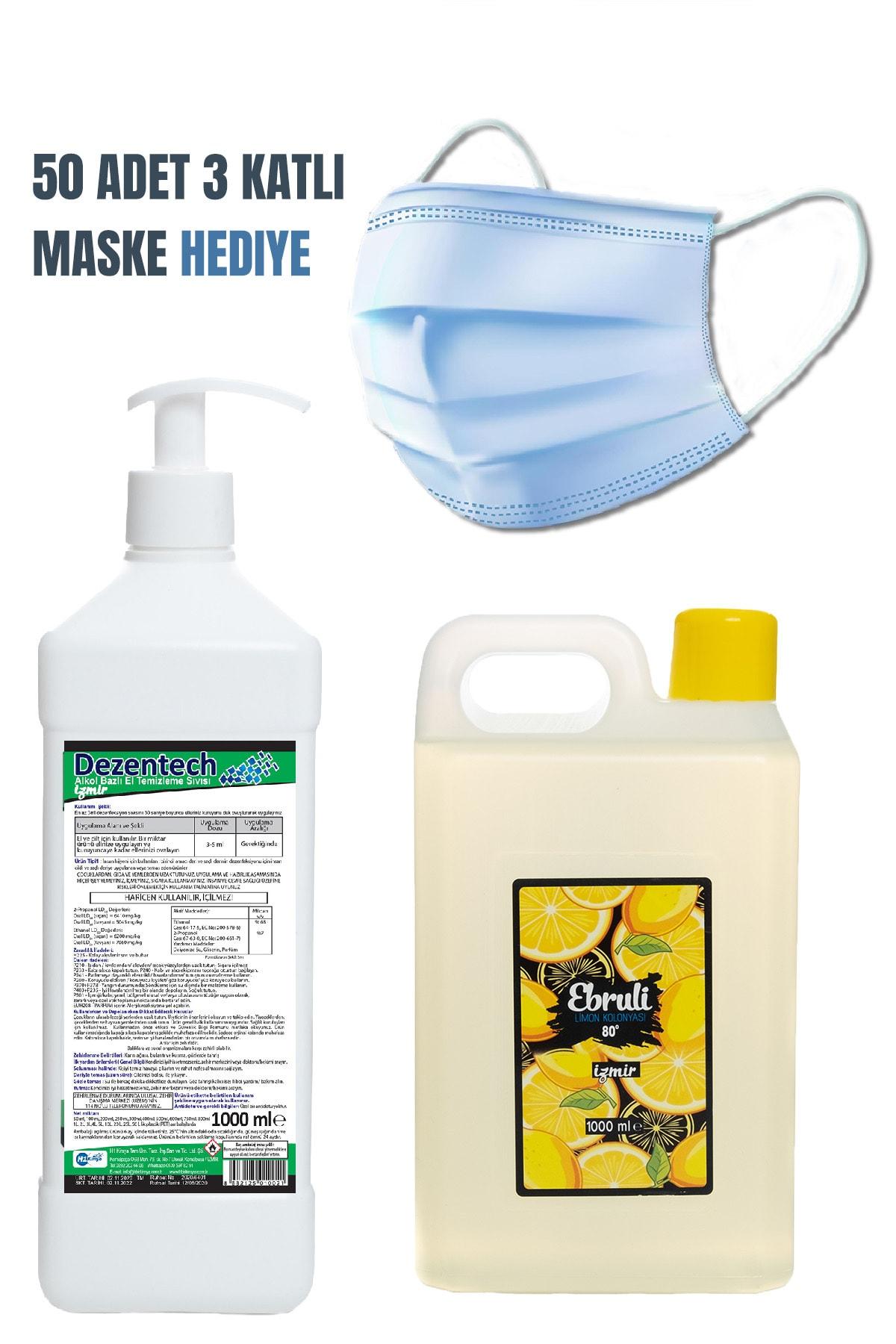 Ebruli Dezentech El Temizleme Sıvısı 1 LT&Ebruli Limon Kolonyası 1 LT&HEDİYE Medikal Maske 50 Adet 1