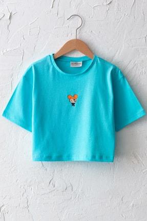 LC Waikiki Kız Çocuk Açık Turkuaz Fzu T-Shirt