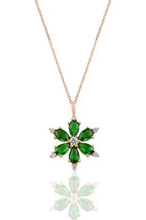 Söğütlü Silver Gümüş Rose Yeşil Taşlı Kar Tanesi Kolye