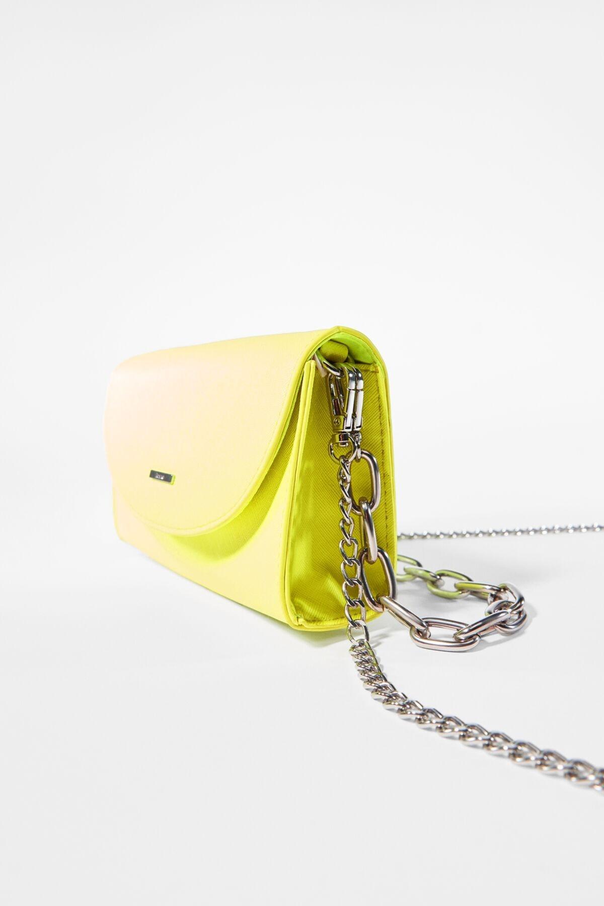 Bershka Kadın Sarı Çoklu Zincirli Mini Çanta 03476266