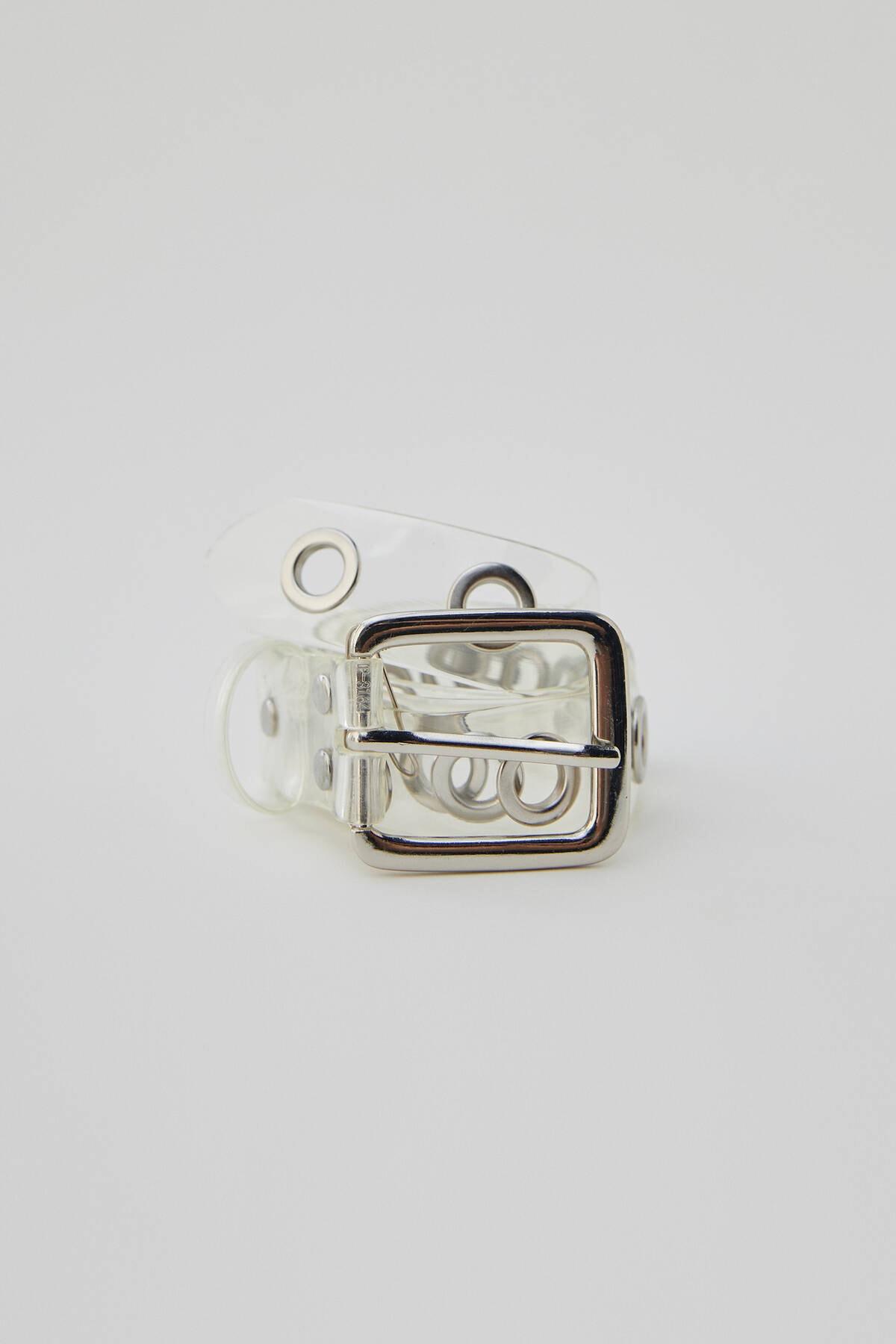 Pull & Bear Kadın Gri Metal Tokalı Şeffaf Kemer 04870315